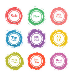 Colorful paper circle sticker label bann vector