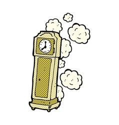 Comic cartoon old grandfather clock vector