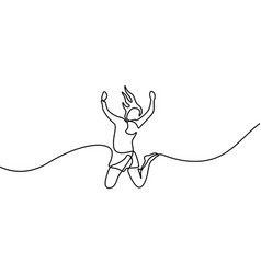 Continuous line drawing woman jumps for happy vector