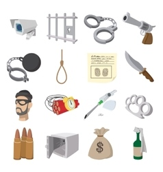 Crime cartoon icons vector image