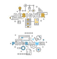 designer and programmer flat line design in blue vector image