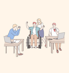 disabled person working at office concept vector image