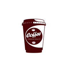 Disposable papper cup of coffee flat icon vector