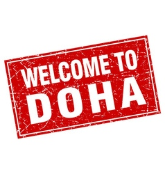 Doha red square grunge welcome to stamp vector