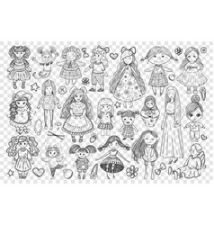 dolls and toys for girl doodle set vector image