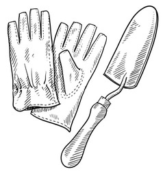 doodle gardening gloves shovel vector image