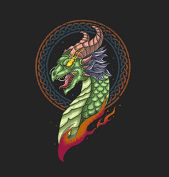 dragon head nordic viking vector image