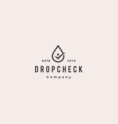 drop check human logo hipster retro vintage icon vector image