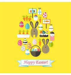 Easter Holiday Greeting Card with Flat Icons Set vector image