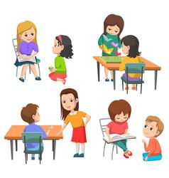 Elementary school kids pupils interaction set vector