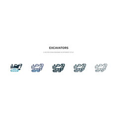 Excavators icon in different style two colored vector