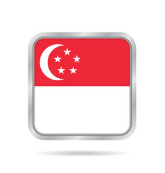 flag of singapore metallic gray square button vector image