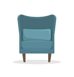 flat blue velvet armchair in retro style vector image