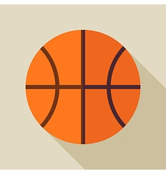 Flat Sports Ball Basketball with Long Shadow vector