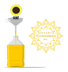 For yellow bottle sunflower oil vector