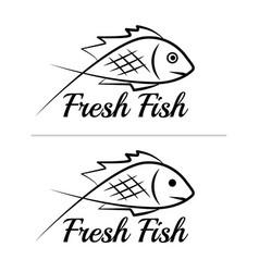 fresh fish logo symbol sign black colored set 6 vector image