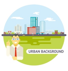 Geek Businessman Urban Landscape City Real Estate vector image
