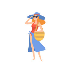 girl in swimsuit pareo sunglasses and hat vector image