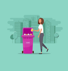 Girl throws garbage in the trash vector