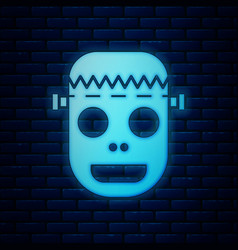Glowing neon zombie mask icon isolated on brick vector