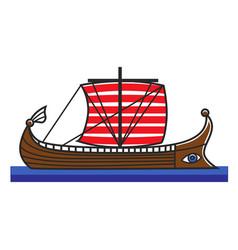 Greek boat odyssey argonauts for greece travel vector