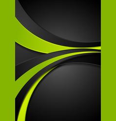green black abstract wavy corporate background vector image