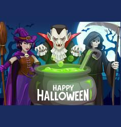 Halloween witch dracula vampire death skeleton vector
