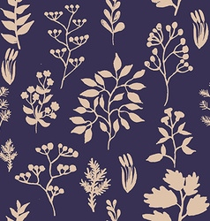 hand painted herbal seamless background vector image