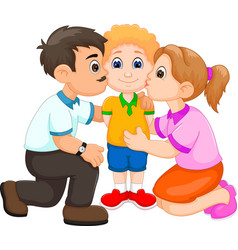 handsome boy cartoon kissed by father and mother vector image
