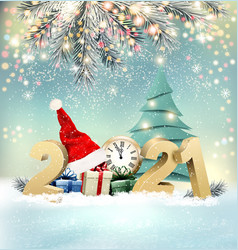 happy christmas and new year holiday background vector image