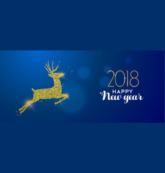 happy new year 2018 gold glitter deer holiday card vector image