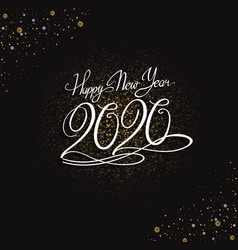 Happy new year 2020 white color with glitter vector