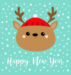 happy new year raindeer deer round head face icon vector image