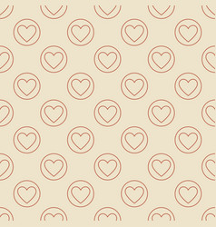 heart in circle seamless pattern in thin vector image