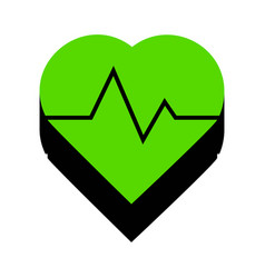 Heartbeat sign green 3d icon vector