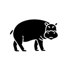 Hippo black glyph icon vector