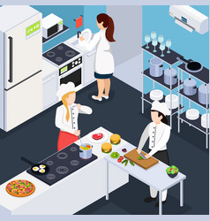 Home staff isometric composition vector