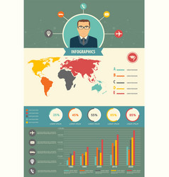 Information user flat pattern infographics vector