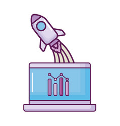 laptop with rocket launcher and statistics vector image