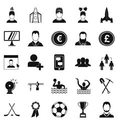 Leader icons set simple style vector