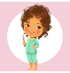 Little girl with tooth brush vector