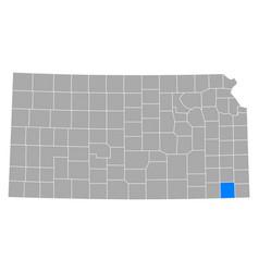 map labette in kansas vector image