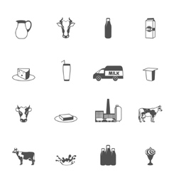 Milk Black Icons Set vector image