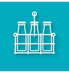 milk bottles in basket on blue background vector image
