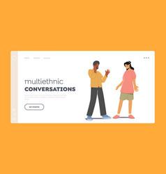 Multiethnic conversations landing page template vector