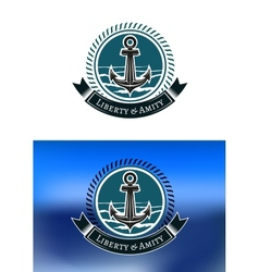Nautical badges with ships anchors vector image
