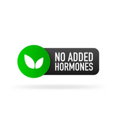 No added hormones green label in flat style on vector