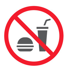 no food glyph icon prohibition and forbidden vector image