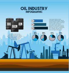 Oil industry infographic pump extraction diagrams vector