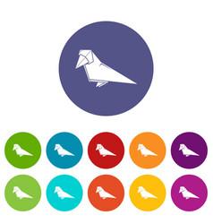 Origami bird icons set color vector